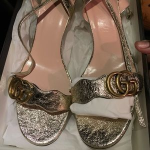 AVAILABLE ✨GG Marmont Gold Sandals ✨